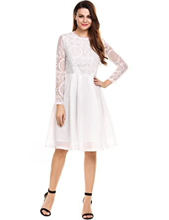 413ed5e4062e9 Tobecy Women's A Line Long Sleeve Floral Lace Cocktail Party Dress at  Amazon Women's Clothing store: