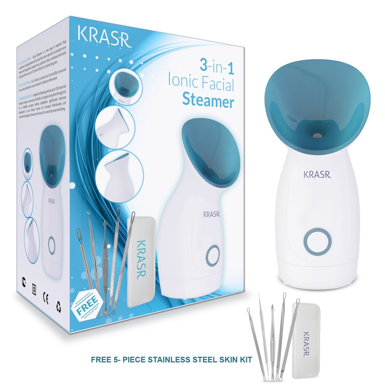 The Original 3-in-1 Nano Ionic Warm Mist Facial Steamer By Krasr ® With Free Kit