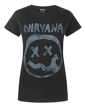 6027079d Nirvana Smiley Logo Women's T-Shirt: Amazon.co.uk: Clothing