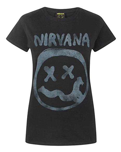 7b2cc57a Nirvana Smiley Logo Women's T-Shirt at Amazon Women's Clothing store: