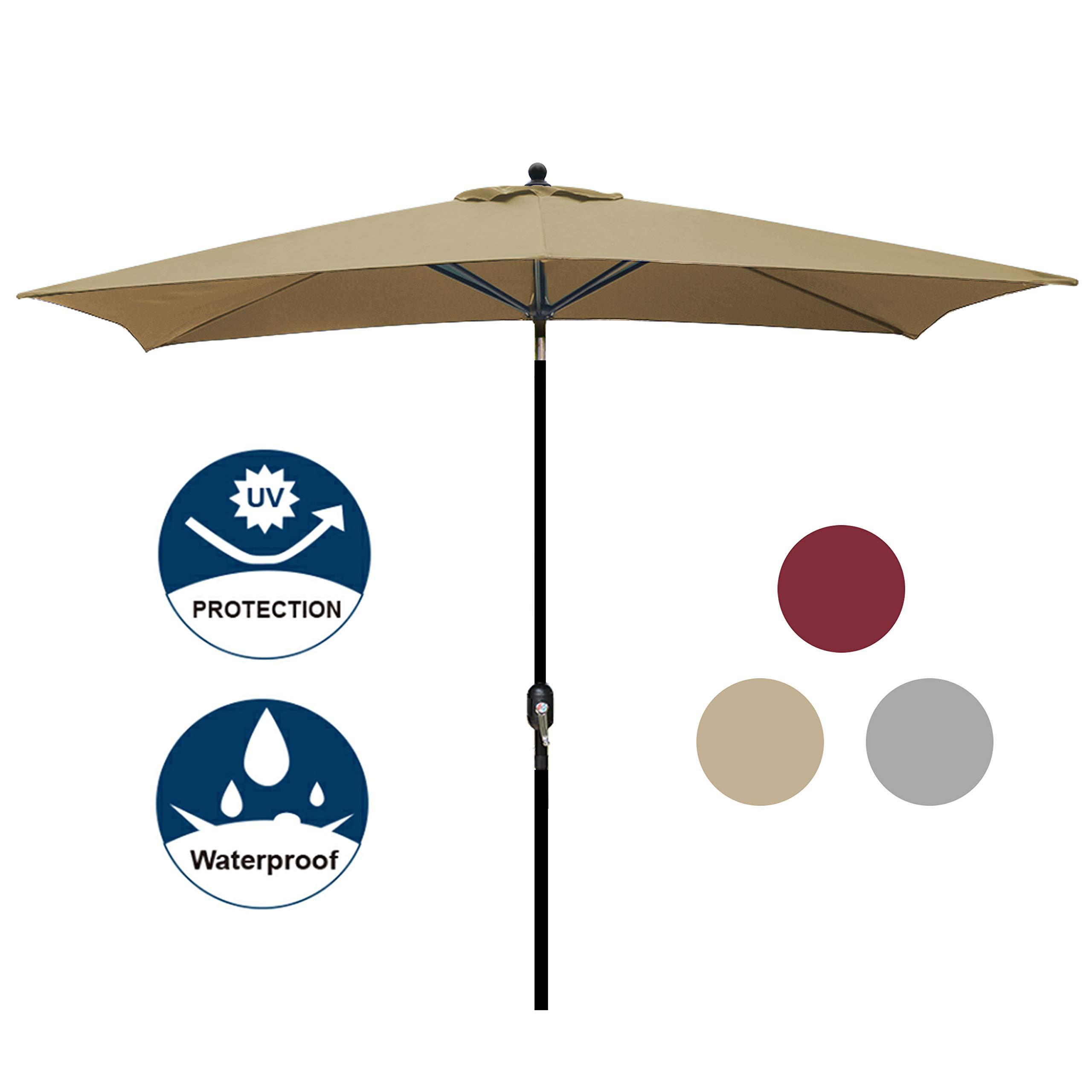 Blissun Rectangular Patio Umbrella Outdoor Market Table Umbrella with Push Button Tilt and Crank, 6.5 by 10 Ft (Tan)