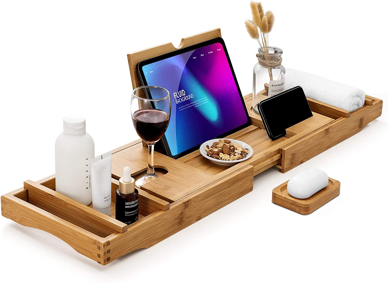HBlife Bamboo Bathtub Caddy Tray [Durable, Non-Slip], One or Two Person Bath and Bed Tray, Extending Sides Fits Any Tub, Cellphone iPad and Wineglass Holder, Free Soap Holder -Natural Color: Home & Kitchen