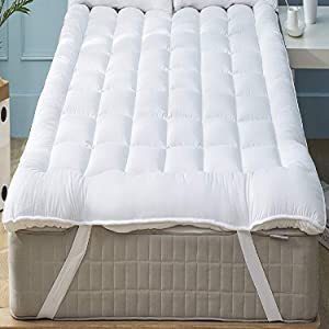 Niagara Sleep Solution Mattress Topper Queen Quilted Down Alternative Extra Plush Anchor Band 4 Corner Elastic Protector Reviver Enhancer Extra Deep Fits 8-21Inches Soft White Bed Cover