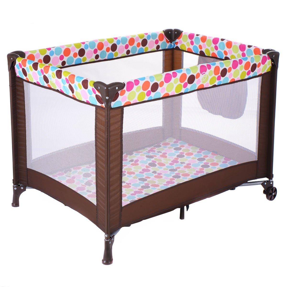 DreamHank Baby Foldable Playard Sweet Wonder Bassinet Travel Portable Bed Playpen Toddler