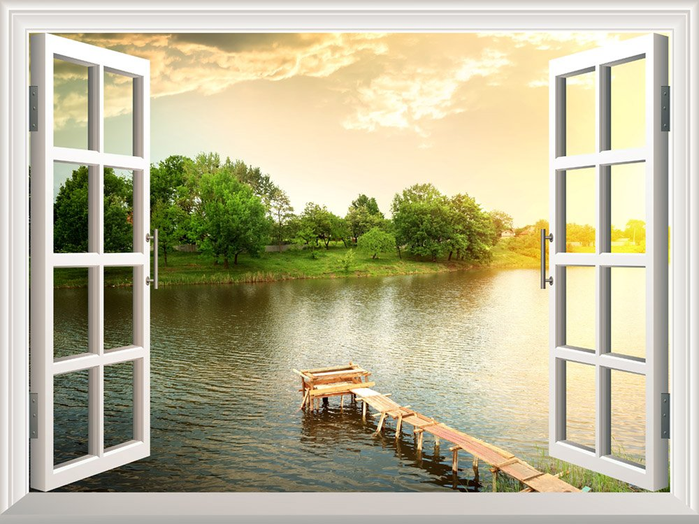 Removable Wall Sticker Wall Mural A small Wood Pier for Fishing at a ...