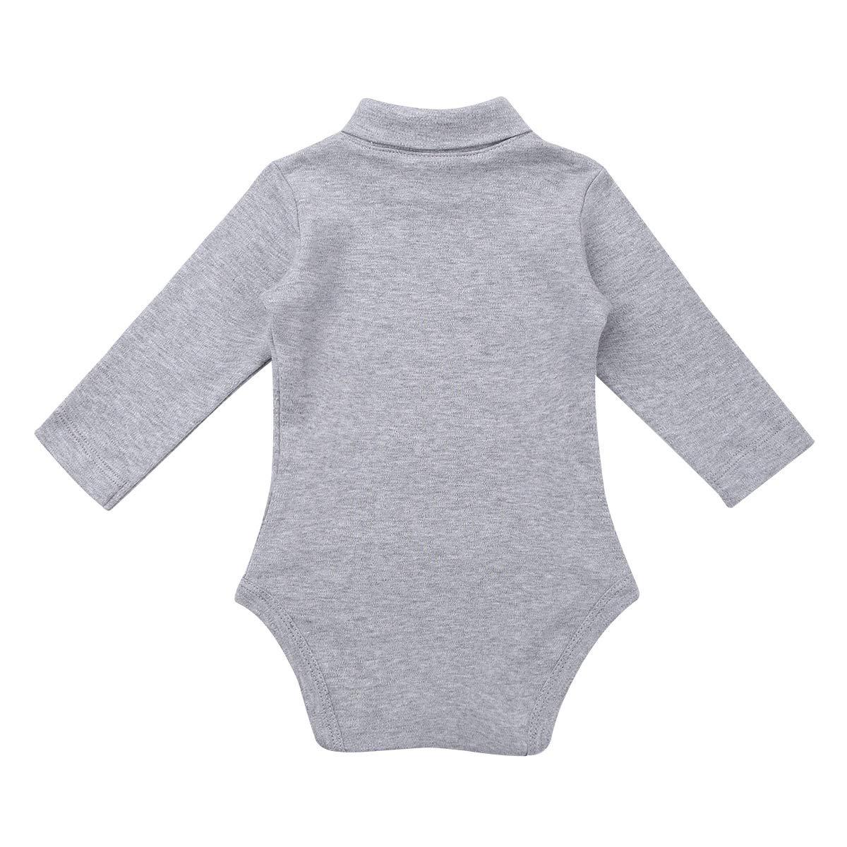 dPois Unisex Baby Rollkragen Body Langarm Strampler Kleinkind Baumwolle Bodysuit Overall Jumpsuit Winter Warm Schlafanzug Spielanzug Kinderbekleidung Gr.50-92