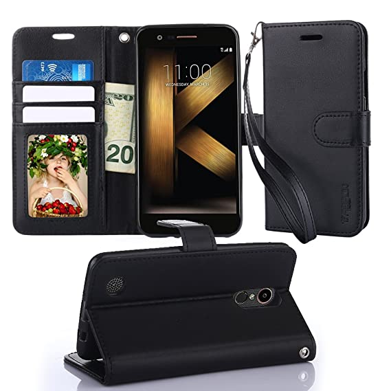 new style 60094 590a6 TabPow LG K20 Plus Wallet Case - Folio Series, Flip PU Leather with  Kickstand, ID & Credit Card Slot Holder for LG K20 V/LG K20 Plus/LG V5 -  Black