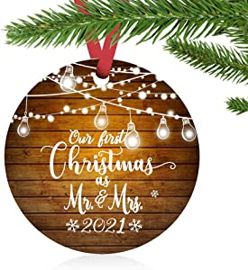 ZUNON First Christmas Ornaments 2021 Our First Christmas as Mr & Mrs Couple Married Wedding Decoration 3