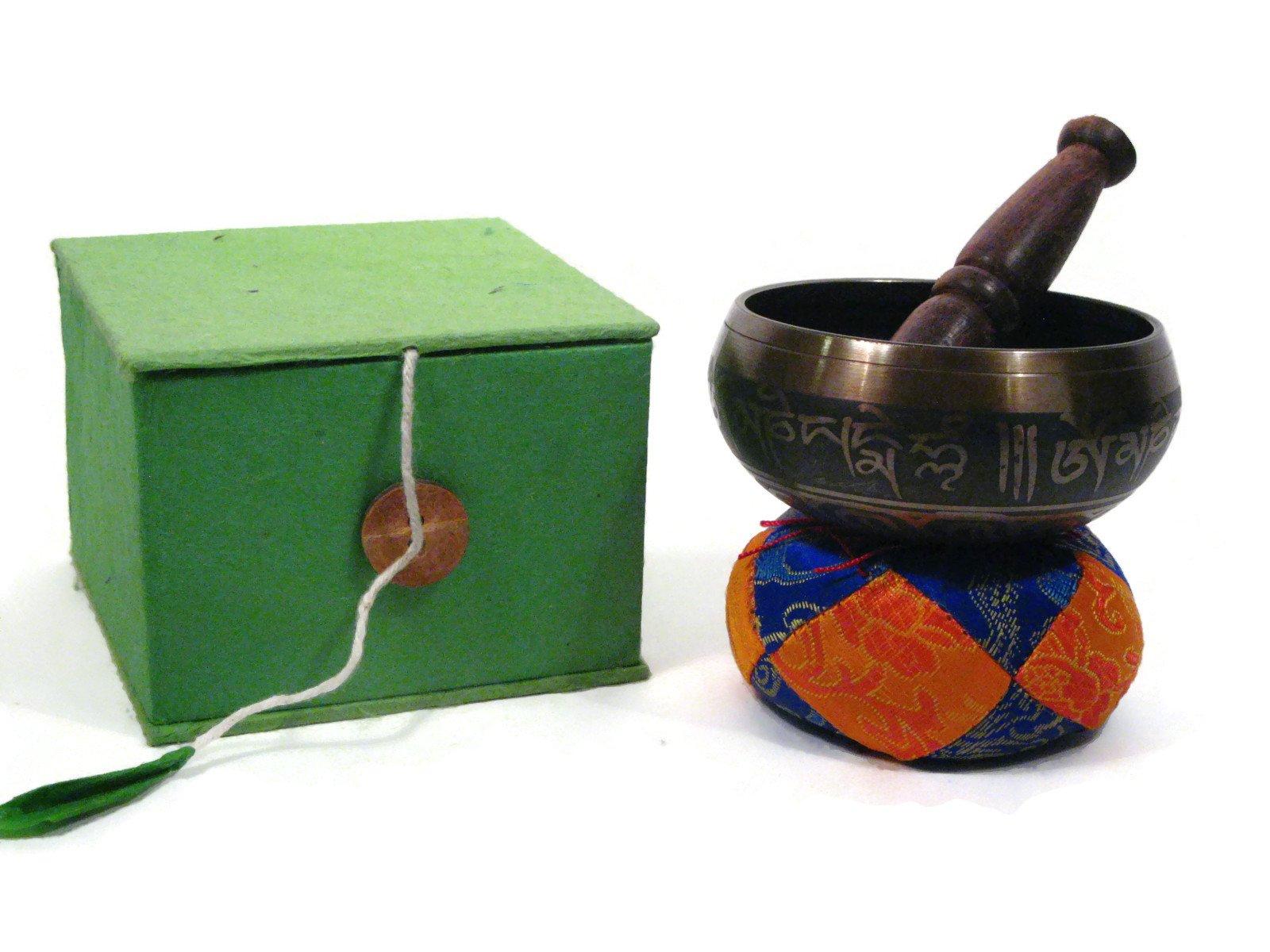 Tibetan Meditation OM Singing Bowl. Includes Cushion, Wooden Ringer, and Storage Box. Balances Chakras, Healing.