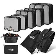 Packing Cubes for Travel, 9 Pcs Travel Cubes Set Foldable Suitcase Organizer Lightweight Luggage Storage Bag (Black)