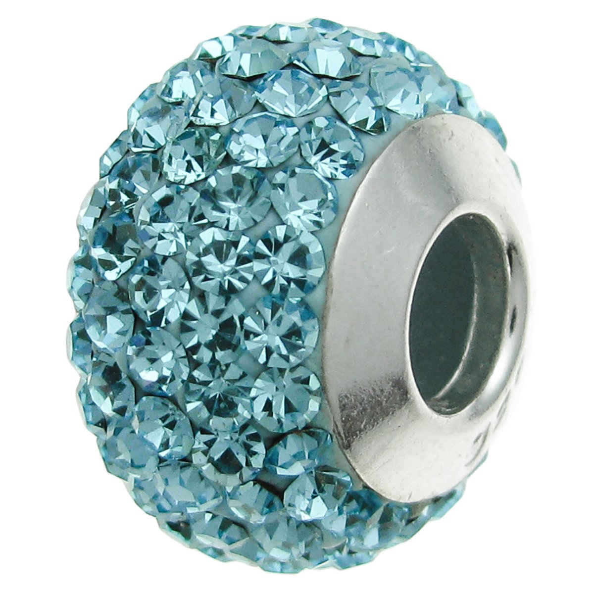 925 Sterling Silver Round Birthday December Aqua Light Blue Crystal Bead For European Charm Bracelets