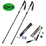 Yahill On Sale!!! Folding Trekking Pole Collapsible Stick Ultralight Adjustable, Alpenstocks with EVA Foam Handle, for Travel Hiking Camping Climbing Backpacking Walking