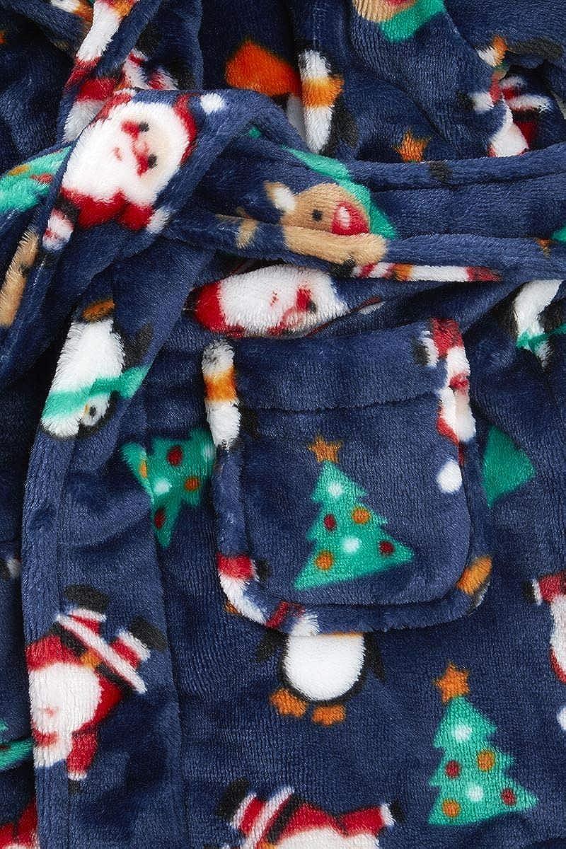 Boys//Kids Soft Plush Fleece Dressing Gowns//Bathrobes Snuggle Cosy Warm Gift, Navy, 12-18