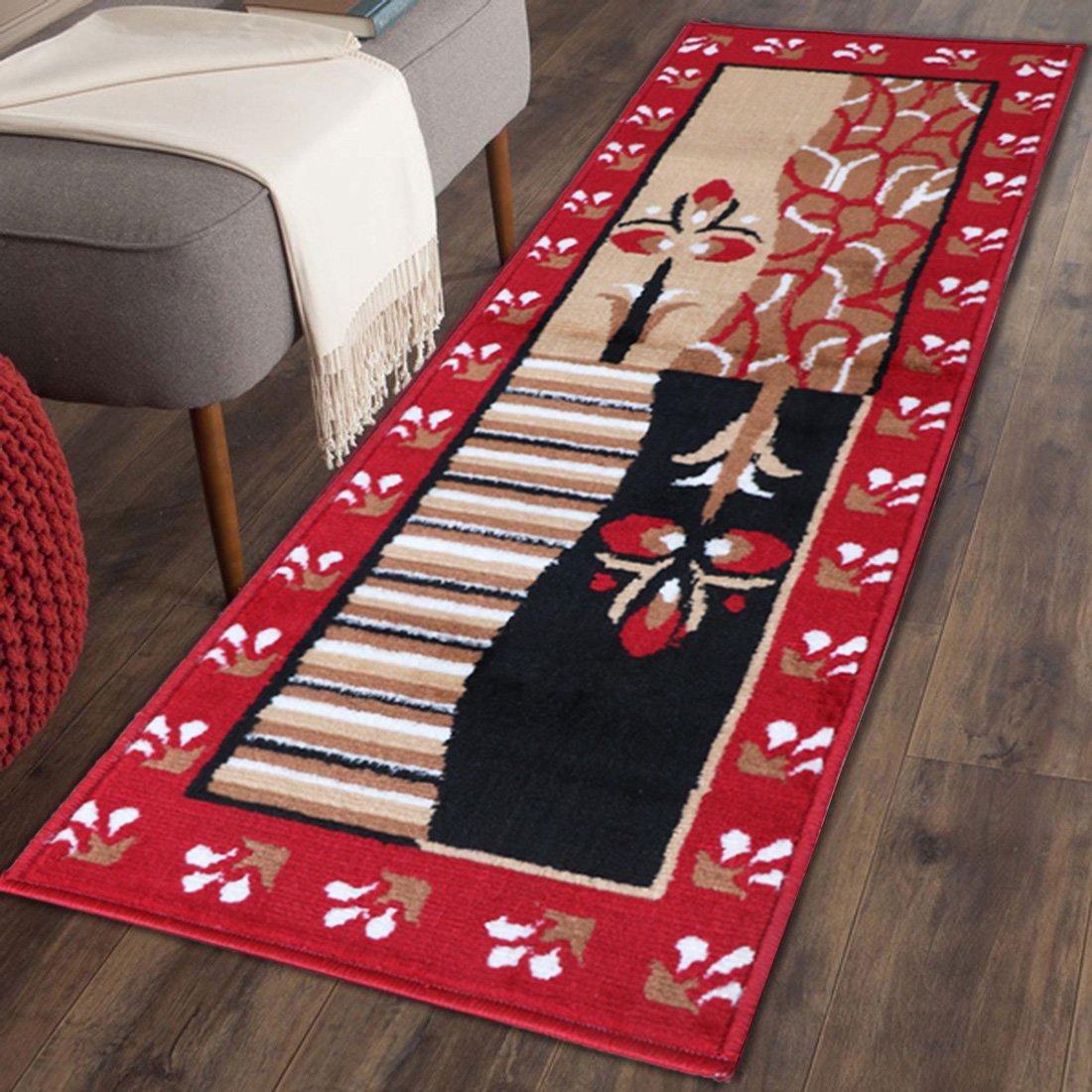 The Home Talk Traditional design bedside runner/ rug/ passage rug, 50 x 150 CM, Vascose, soft, Best for bedroom/living room/passage- RED