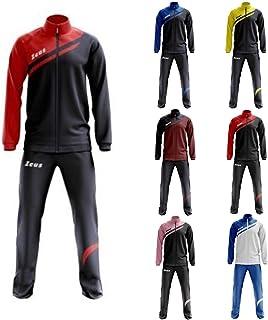 Tuta Amilkare Nero-Rosso Zeus Corsa Sport Uomo Staff Running jogging Allenamento Relax Calcio Calcetto Torneo Scuola Sport