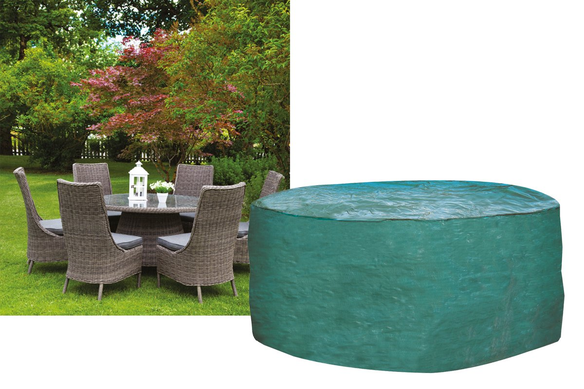 W1200 Garland 6-8 Seater Round Furniture Set Cover Strong woven green polyethylene Worth Gardening by Garland