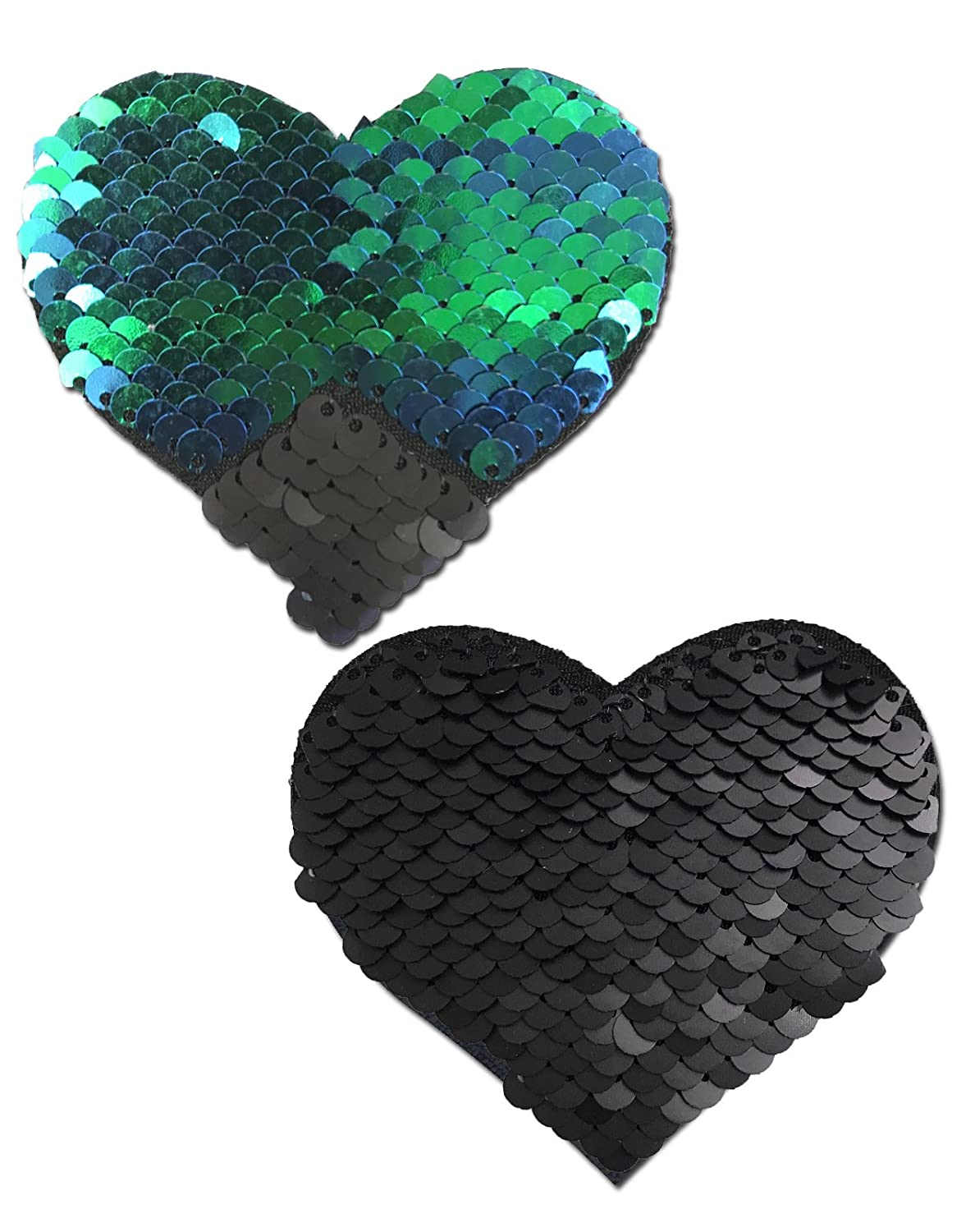 Sweety: Opal & Black Color Changing Sequin Heart Nipple Pasties by Pastease o/s HRT-SQ-OPBK