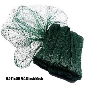 Poyee Bird Netting for Garden - 6.5 Ft x 50 Ft,0.8 Inch Mesh, Green Nylon Garden Netting Protect Fruit and Vegetables from Birds and Animals