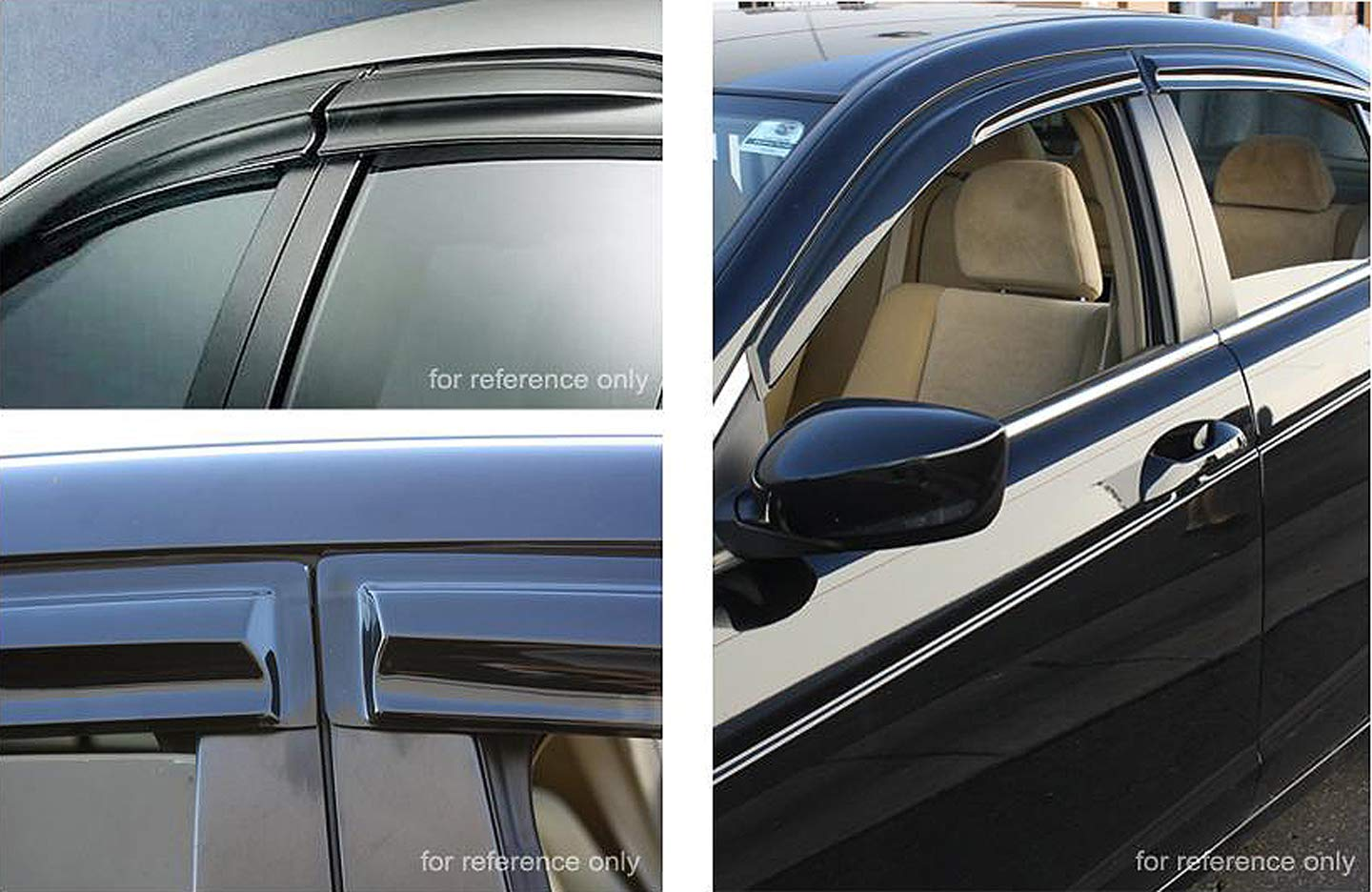 ICBEAMER 4 pcs Side Window Visors Deflectors for 2012-15 Honda Odyssey 4 Doors Sedan Vent Visor Sun//Rain Guard Set