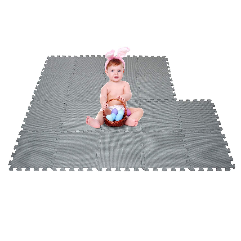 Id/éal pour l/Éveil de lenfant QQCDW101104G301018 qqpp Tapis de Puzzles Tapis de Sol Enfant et B/éb/é en Mousse 18 Dalles Color/ées /à Imbriquer 30 x 30 cm