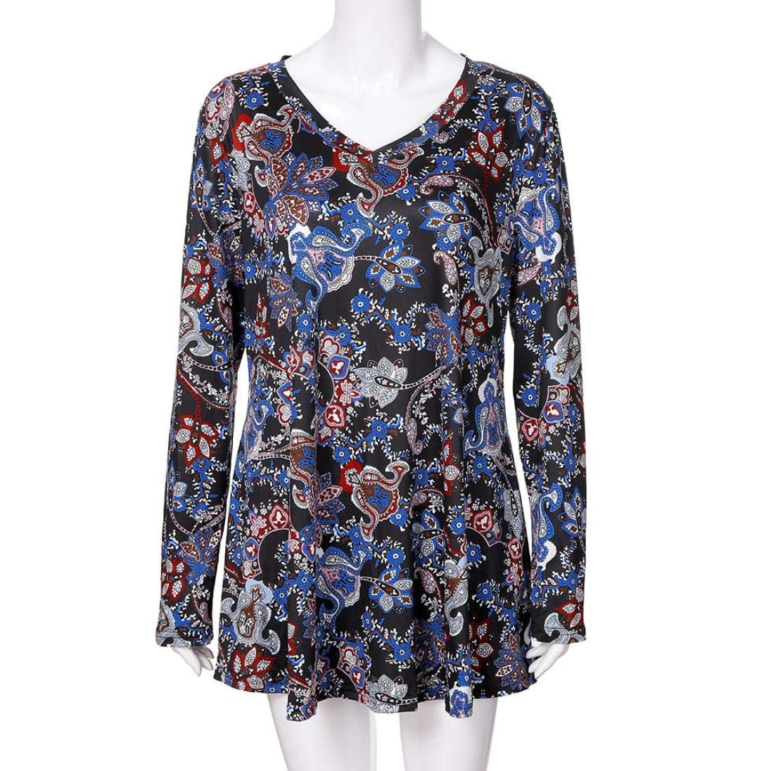 Vertily Retro Flower Print Tops Autumn Colorful Womens Loose Long Sleeve Blouse