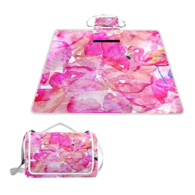 "TSWEETHOME Flamingo Pink Floral Square Picnic Outdoor Camping Beach Blanket Mat with Waterproof SandProof for Camping, Park, Beach, Hiking, Family Concerts(57""x59"") : Garden & Outdoor"