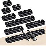 URAQT Snygga kabelklämmor, 9-pack självhäftande kabelhållare sortiment med förvaringsbox, kabelhanteringsklämmor för…