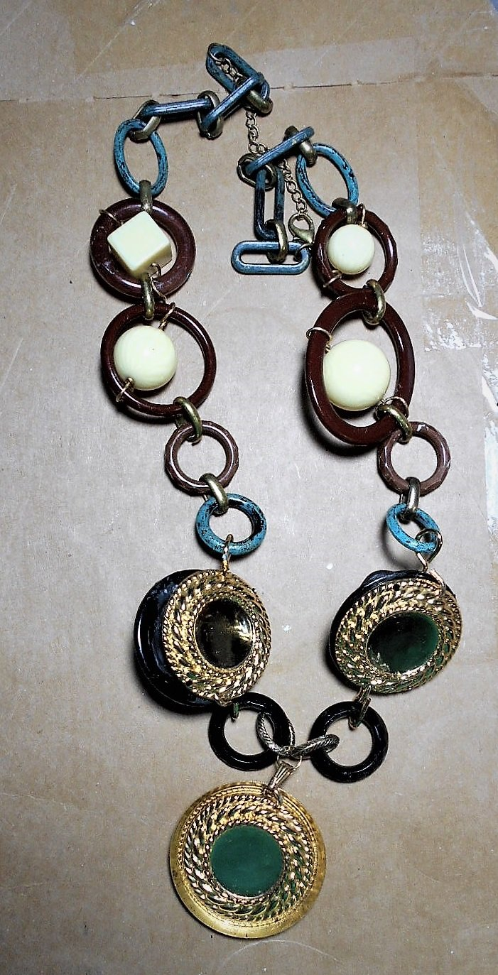 Geometric Bakelite Ivory, Celluloid Brown, Black, Verdigris, Grecian Cameo & Focals Necklace Spheres, Cubes, Link Necklace or BELT.