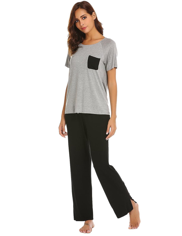 Ekouaer Womens Modal Pajamas Short Sleeve V-neck Shirt and Elastic Waist  Long Pants PJs Sleepwear Set at Amazon Women s Clothing store  728cdfca2