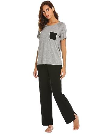 a5fa699b21 Ekouaer Womens Modal Pajamas Short Sleeve V-neck Shirt and Elastic ...