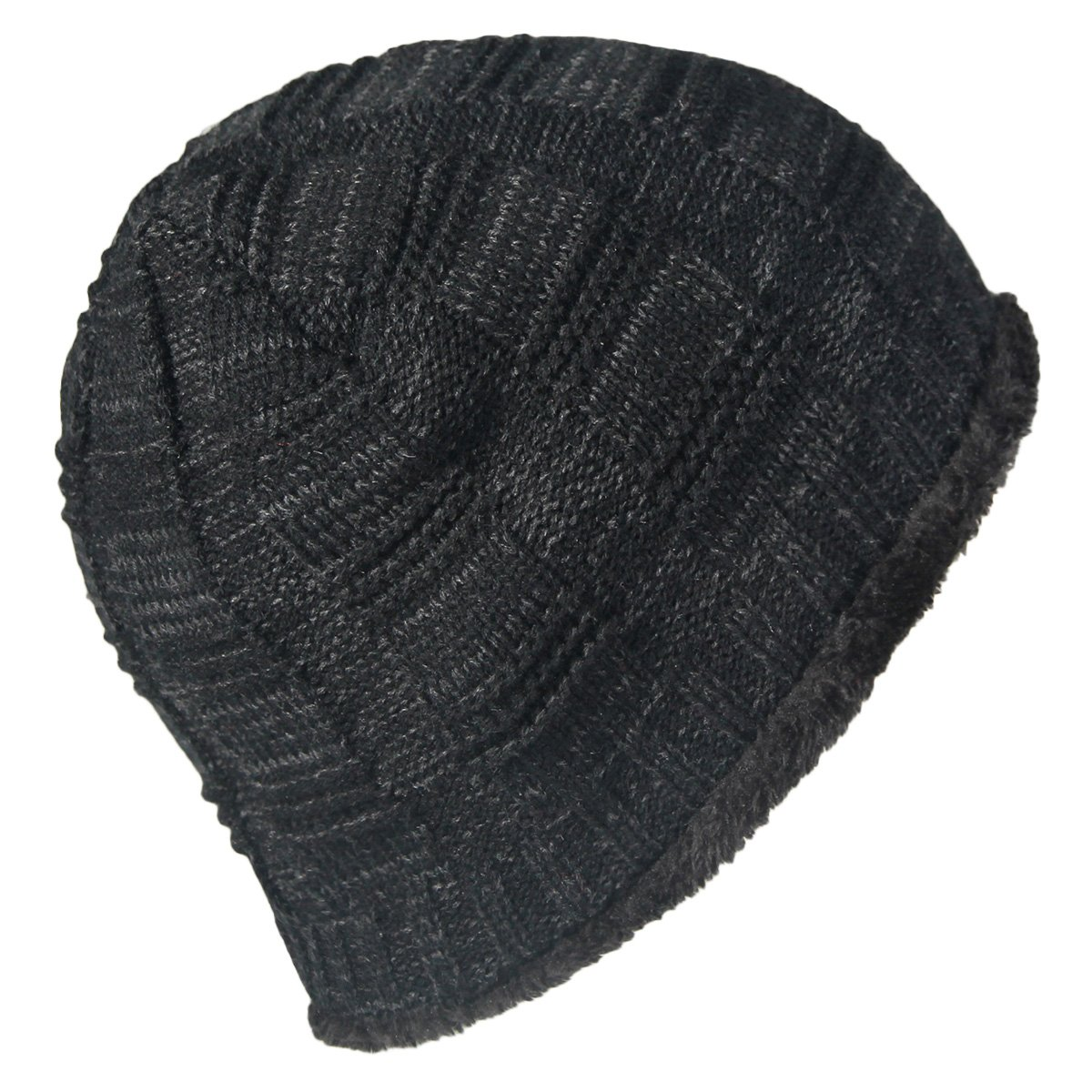 63a72e808b2b6 LETHMIK Unique Ribbed Knit Beanie Warm Thick Fleece Lined Hat Mens Winter  Skull Cap Black at Amazon Men's Clothing store: