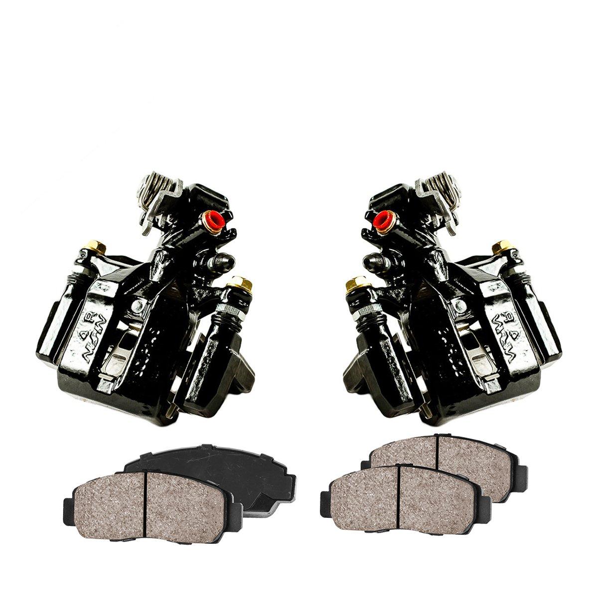 CCK02398 [2] REAR Performance Black Powder Coated Calipers + [4] Quiet Low Dust Ceramic Brake Pads Callahan Brake Parts