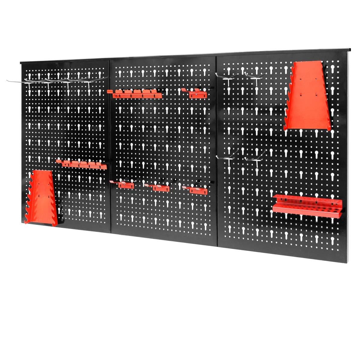 avec 17 pi/èces Assortiment de crochets ECD Germany 2 x Panneau perfor/é en trois parties Paroi perfor/é pour outils 120 x 60 x 2,1 cm Porte-outils en m/étal