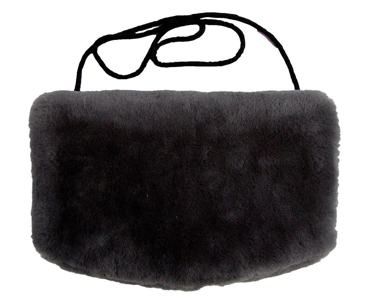 29,5x19 cm geschorenes Lammfell ca Warmer Lammfell Pelzmuff schwarz mit Rei/ßverschlusstasche waschbar