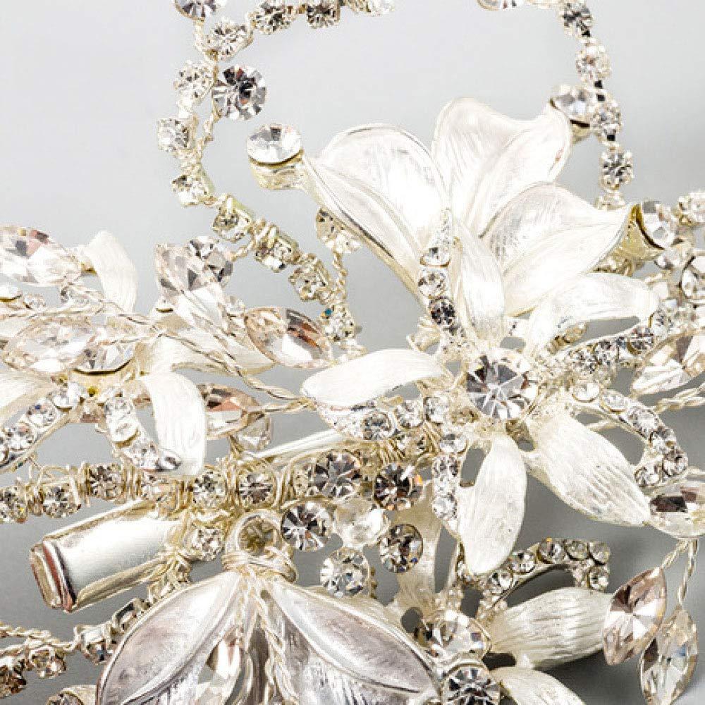 GongDi Diademe Braut Diadem Silber Blume Quaste Clip Hochzeit Haarschmuck