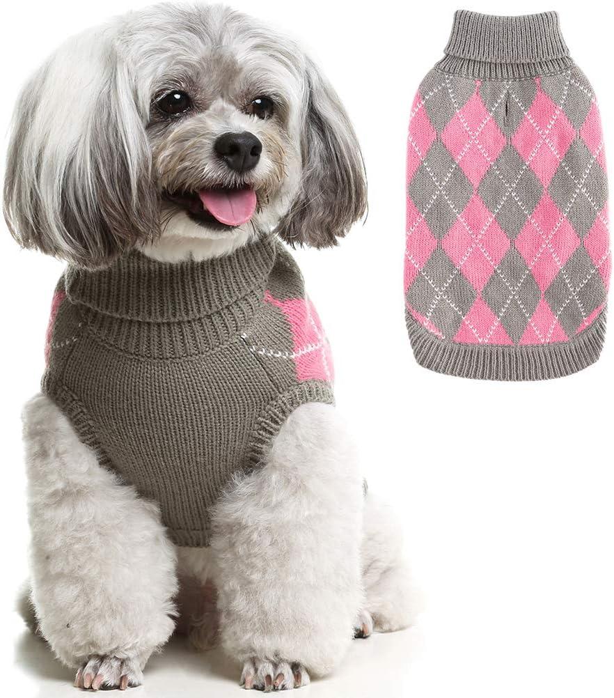 SCIROKKO suéter de Punto clásico para Perro, suéter de Punto de Diamante a Cuadros, Abrigo de Invierno cálido para Perros pequeños y Grandes