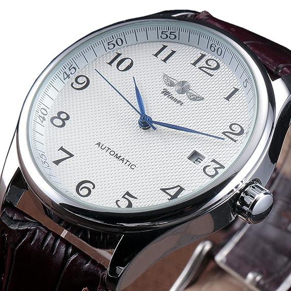 Winner Reloj Automático de los hombres relojes negocios clásico mecánico automático FECHA DÍA banda de acero inoxidable pulsera reloj de pulsera esqueleto ...