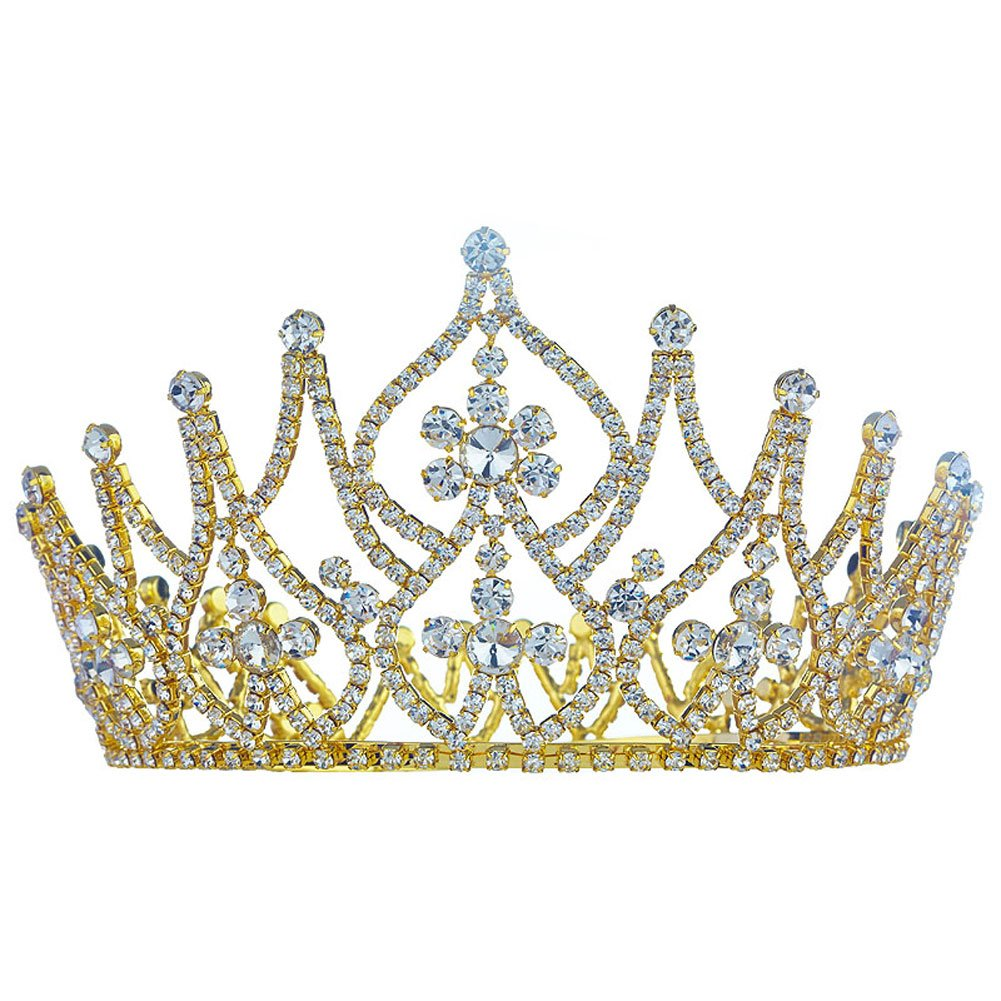 Large Tall Clear Crystal Full Circle Round Pageant Beauty Contest Crown T1758