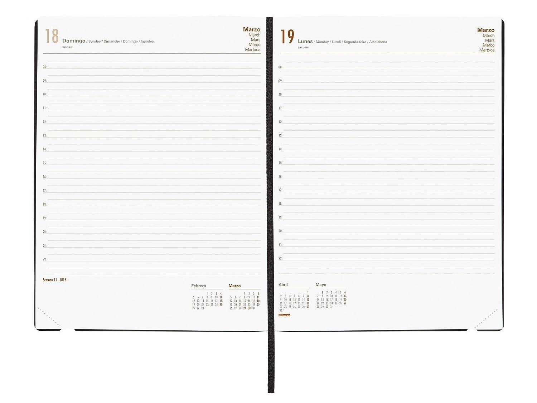 Finocam Dynamic Mara - Agenda 2018, día página, español, 210 x 270 mm, 80 g/m², color negro