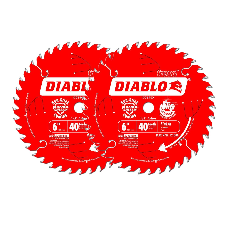 Freud D0640X Diablo 6-inch 40 Tooth ATB Precision Finishing Saw Blades, 2-Pack