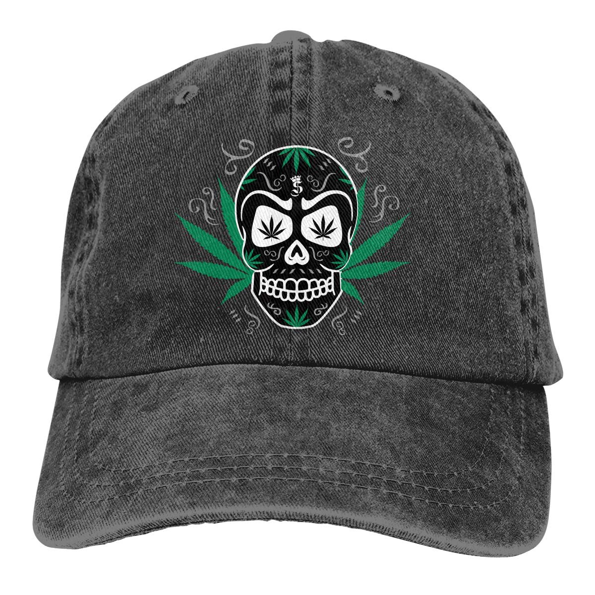 Swmo0wk2d Marijuana Skull Unisex Snapback Adult Cowboy Hat Adjustable Hats