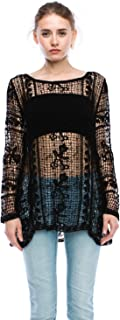 product image for Jubilee Couture Womens Flower Crochet Lace Long Sleeve Blouse
