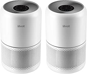 LEVOIT Air Purifier for Home Allergies and Pets Hair Smokers in Bedroom, H13 True HEPA Filter, 24db Filtration System Cleaner Odor Eliminators, Remove 99.97% Dust Smoke Mold Pollen (2, White)