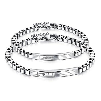 Keybella 2 pulseras de acero inoxidable para parejas para ...