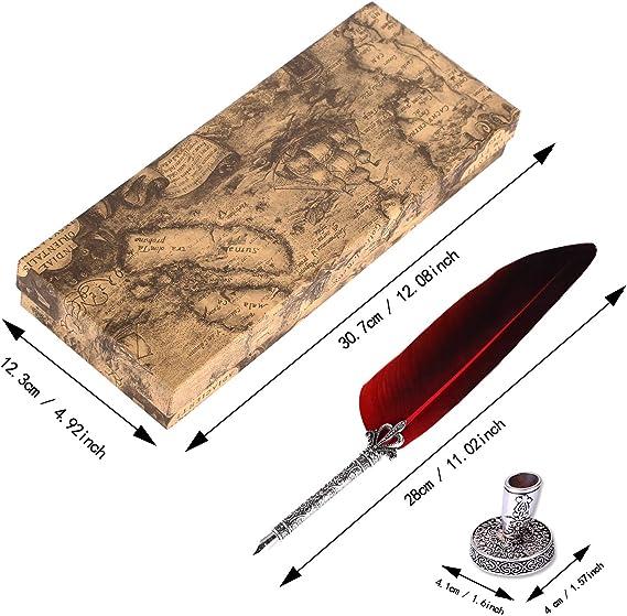 VABNEER Pluma de Inmersion Pluma Antigua Escritura Metal Pluma de Caligrafía Para uso personal, regalo ejecutivo y decoración de escritorio antigua (con tinta): Amazon.es: Oficina y papelería