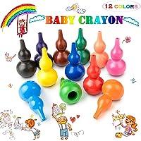 Keten Babykrijtjes, 12 Kleuren Verfkrijtjes voor Peuters, Wasbare, Veilige en Niet-giftige Kleuterkrijtstokken, Stapelbaar Speelgoed voor Kinderen, Baby's, Kinderen, Jongens en Meisjes