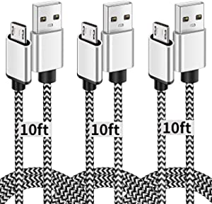 Micro USB Cable, 10ft 3 Pack Extra Long Charging Cord Nylon Braided High Speed Durable Fast Charging USB Charger Android Cable for Samsung Galaxy S7 Edge S6 S5,Android Phone,LG