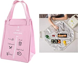 Lunch Bag Insulated Foldable Lunch Box Carrier for Hot or Cold Food, Lunch Tote Bag Handbag Container Bag for Potluck Parties Picnic Cookouts Work Hiking Beach Fishing (Pink)