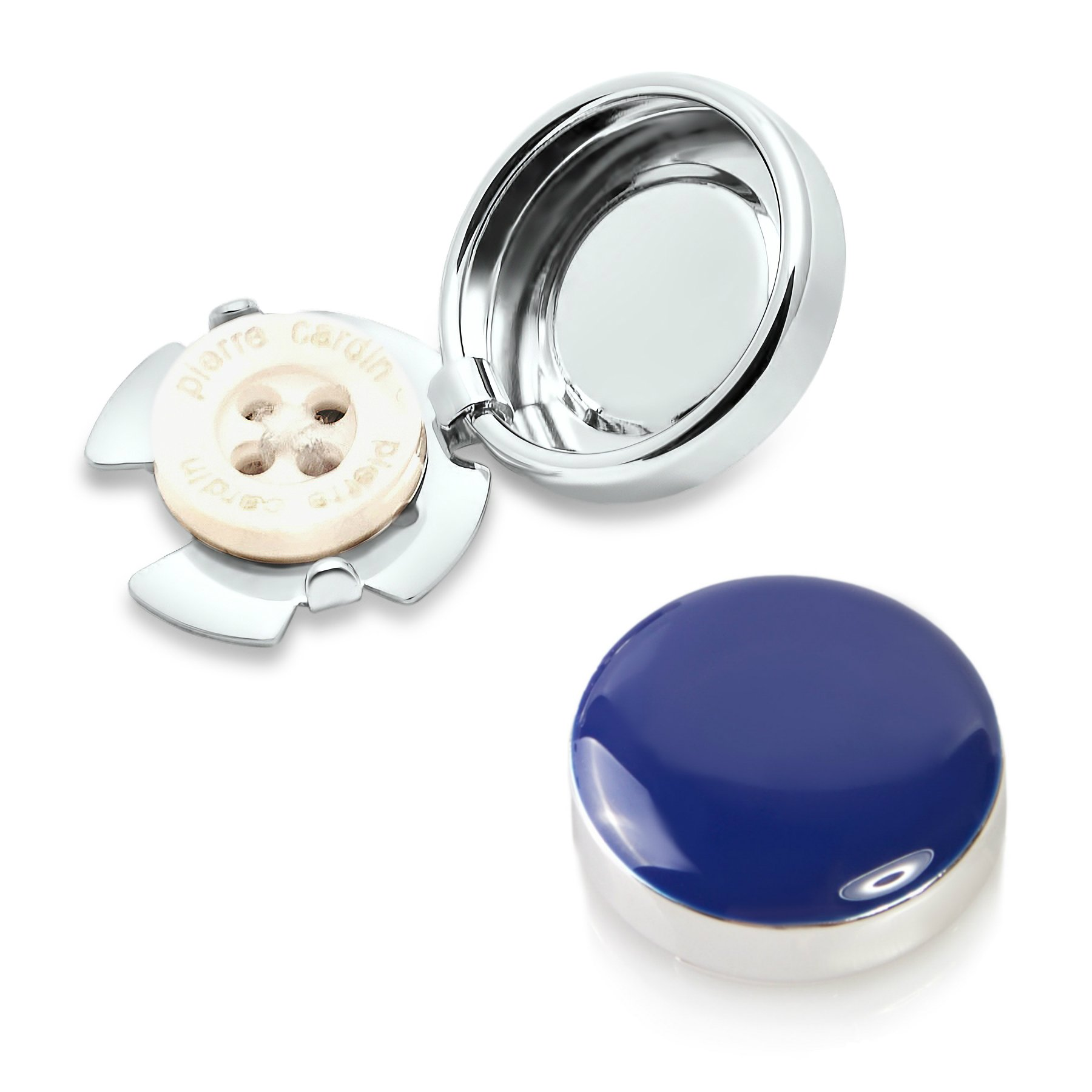 Navy & Silver, Button Covers - Cuff Link Alternative for Shirts, Cuffs and Collars (CS-dia US)