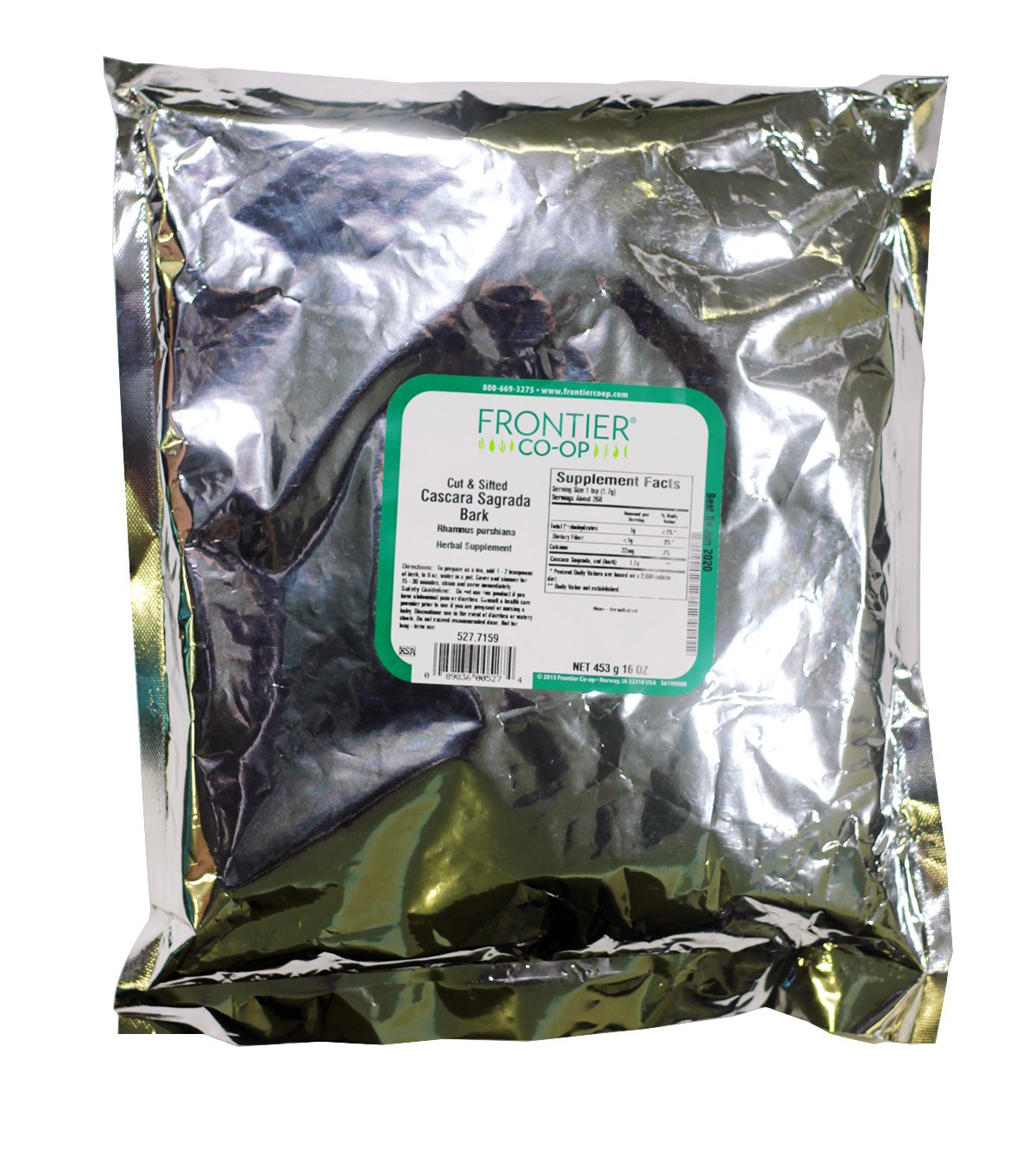 Frontier Bulk Cascara Sagrada Bark (Aged), Cut & Sifted, 1 lb. package